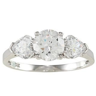 14k Gold 2ct TDW Round and Heart cut Cubic Zirconia 3 stone Ring