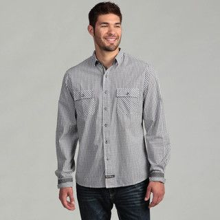 English Laundry Mens Black Checkered Woven Shirt