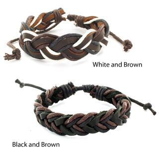 West Coast Jewelry Two tone Woven Leather Cord Bracelet