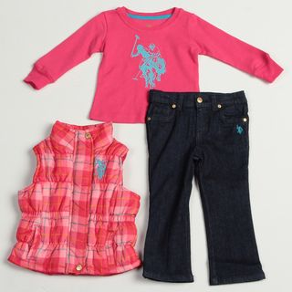 US Polo Toddler Girls 3 piece Shirt, Plaid Vest and Denim Pant Set