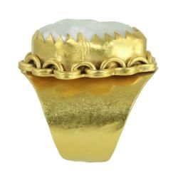 24k Yellow Gold Plated Freshwater Coin Pearl Adjustable Ring