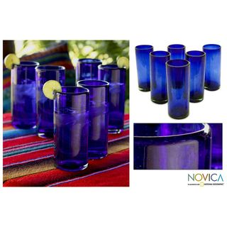 Set of 6 Blown Glass Pure Cobalt Highball Glasses (Mexico