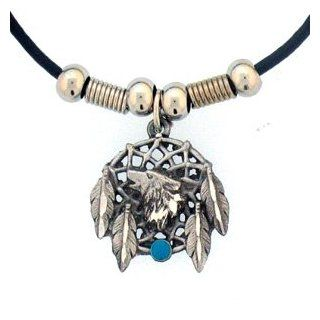 Native American Indian Inspired Wolf Dream Catcher Earth Spirit