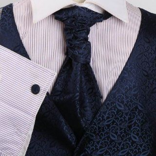 Mens Blue Patterned Dress Vest Formal Vest for Wedding Gift Set Match