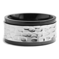 Two tone Stainless Steel Mens Hammered Spinner Ring (11 mm