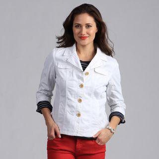 Live A Little Womens White 3/4 Sleeve Lightweight Jacket