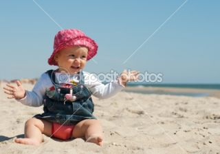 Cute little girl sitting in the sand  Stock Photo © Viktoria