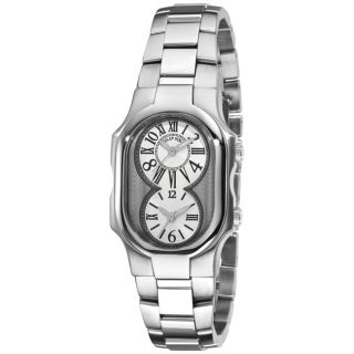 Philip Stein Womens Signature Stainless Steel Dual Time Watch