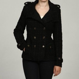 Steve Madden Womens Black Embellished Button Double breasted Coat