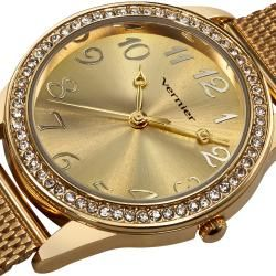 Vernier Womens Gold Tone Crystal Stone Bezel Mesh Strap Watch