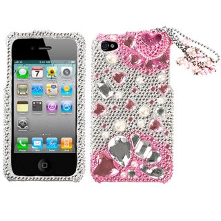 Apple Iphone 4/4S Pink Charms Design 3D Premium Rhinestone Diamond
