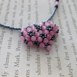Pink Bead woven Sweet Heart Necklace (USA)
