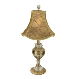 Dale Tiffany PG80330 Cinza Table Lamp, Antique Brass and Fabric Shade