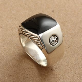 David Yurman Mens Sterling Silver Square Onyx Ring