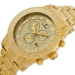 JBW Mens Lynx 6ct Diamond 18k Gold Plated Stainless Steel Watch