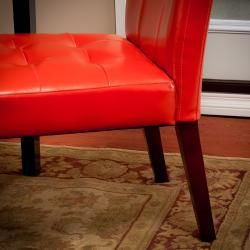 Christopher Knight Home Tufted Burnt Orange Leather Dining Chair (Set