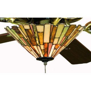Tiffany Street 25039 Modern Jadestone Stained Glass Ceiling Fan Light