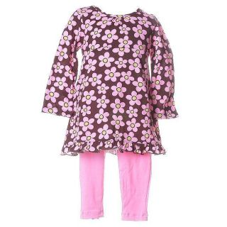 Flapdoodles Toddler Girls Pink Floral Outfit