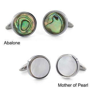 West Coast Jewelry Stainless Steel Abalone Shell Inlay Round Cuff