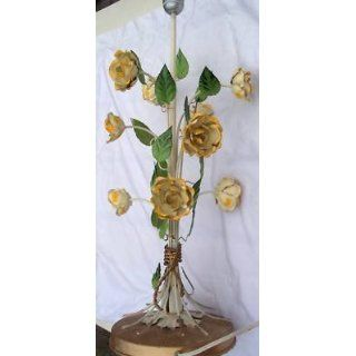 Vintage Old Shabby Metal Tole Painted Flowers Table Lamp