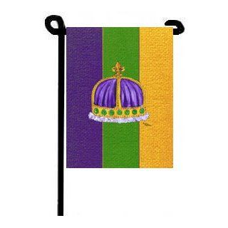 Mardi Gras Crown King Queen Purple Gold Green Garden Flag