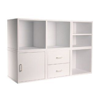 6 IN 1 Cube Storage System   White Home & Kitchen