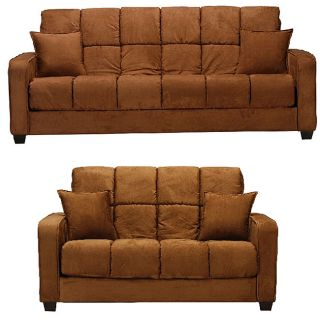 Cara Dark Brown Futon Sofa Bed and Loveseat