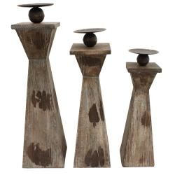 Kingston Weathered Wood Pillar Candle Holders (Set of 3)