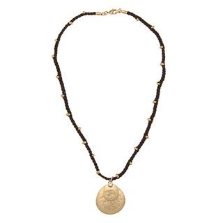 Ralph Lauren Goldtone Bedford Square Disc Beaded Necklace