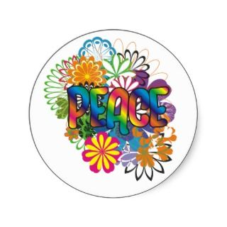 60s Flower Child Peace Stickers