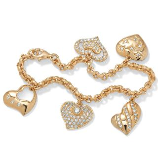 Ultimate CZ Gold over Silver Clear Cubic Zirconia Heart Charm Bracelet