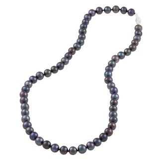 DaVonna Sterling Silver 6.5 7mm Black Freshwater Pearl Necklace (16 36