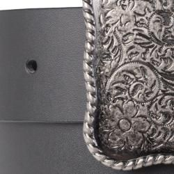 Journee Collection Womens Metal Scroll Flower Design Buckle Belt