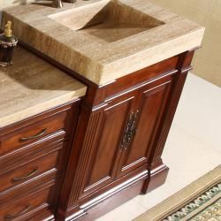 Silkroad Exclusive Travertine Top 51 inch Single Sink Vanity Cabinet