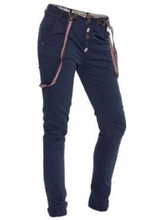 Eight2Nine Chino Hose mit Hosenträger by Fresh Made dull navy blau