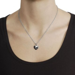 Journee Collection Stainless Steel CZ Puzzel Piece Heart Necklace