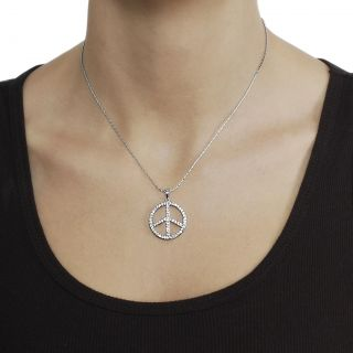 Journee Collection Silvertone Pave set CZ Peace Sign Necklace