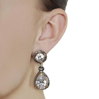 Journee Collection Silvertone Round cut and Teardrop CZ Dangle
