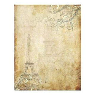 Vintage Eiffel Tower+Swirls Personalized Letterhead