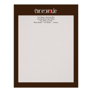 Chocolate Lover with Red Heart Personalized Letterhead