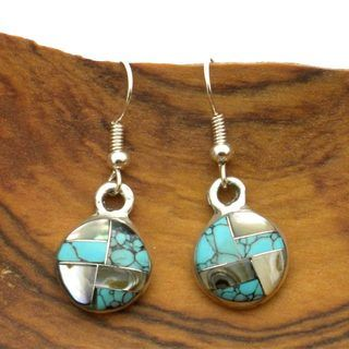 Alpaca Silver Round Turquoise and Mother of Pearl Earrings (Mexico
