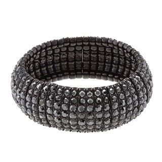 Morgan Ashleigh Gunmetal plated Black Glass Stretch Bracelet