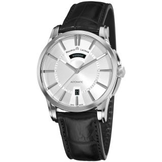 Maurice Lacroix Mens Pontos Black Leather Strap Watch