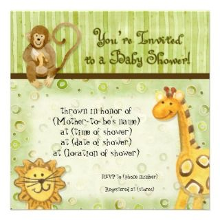 Jungle Babies, Boy Baby Shower Invitation   Green