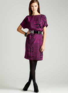 Ellen Tracy Short Sleeve Print Belt Dress
