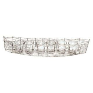 Rojo 16 Costa Brava Iron Boat with 6 Mercury Glass Votives   Votive