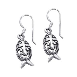 Sterling Silver Christian Fish Swirl Cross Dangle Earrings (Thailand