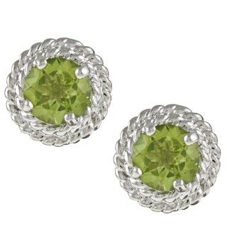 Kabella Sterling Silver Round Peridot Rope Design Stud Earrings