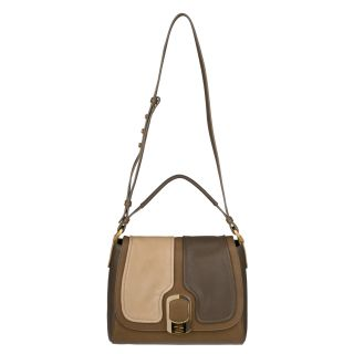 Fendi Anna Light Brown/Beige/Taupe Leather Shoulder Flap Bag