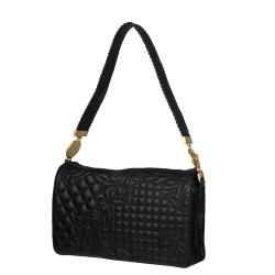Versace Black Embroidered Leather Shoulder Bag